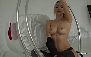 Fit, Russian blond is working as a underwear model, but frequently posing sans clothes, just for joy